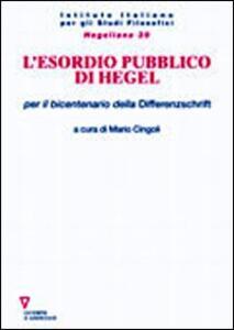 L' esordio pubblico di Hegel per il bicentenario della Differenzschrift