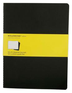 Cartoleria Quaderno Cahier Moleskine extra large a quadretti. Set da 3 Moleskine 5