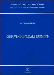 «Qua vendidit, dare promisit» - Riccardo Fercia - copertina