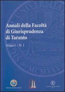 Voluntariadobaleares2014.es Annali della facoltà di giurisprudenza di Taranto. Vol. 1 Image