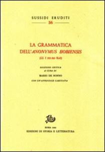 La grammatica dell'«Anonymus Bobiensis» (GL 533-565 Keil)
