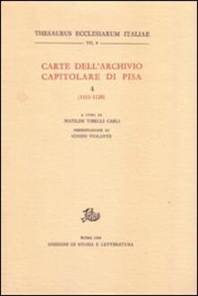 Carte dell'Archivio capitolare di Pisa. Vol. 4: 1101-1120. - copertina