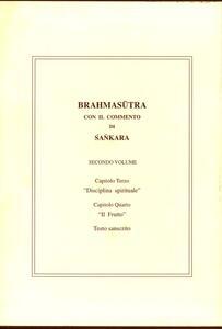 Brahmasutra con il commento di Sankara