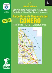 Radiospeed.it Parco naturale regionale del Conero. Trekking, MTB, cicloturismo. Carta dei sentieri n. 6 1:25.000 e carta dei sentieri 1:10.000 Image