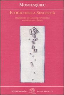 Elogio della sincerità. Testo francese a fronte - Charles L. de Montesquieu - copertina