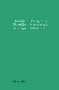Discipline filosofiche (1999) (2). Heidegger e la fenomenologia dell'esistenza