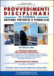 Provvedimenti disciplinari in azienda. Settori privato e pubblico - copertina