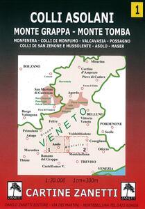 Colli asolani. Monte Grappa, monte Tomba, Monfenera, colli di Monfumo, Valcavasia, Possagno, colli di San Zenone e Mussolente, Asolo, Maser 1:30.000