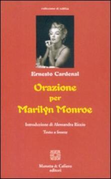 Orazione per Marilyn Monroe. Ediz. italiana e spagnola - Ernesto Cardenal - copertina