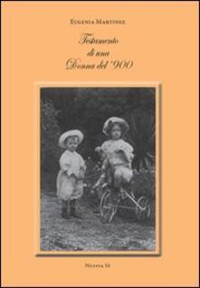 Testamento di una donna del '900 - Eugenia Martínez - copertina