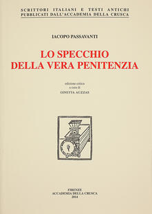 Lo specchio della vera penitenza - Iacopo Passavanti - copertina