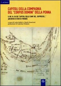 Capitoli della Compagnia del «Corpus Domini» della Penna: il ms. n. 416 dei Capitoli delle Comp. Rel. soppresse (Archivio di stato di Firenze) - copertina