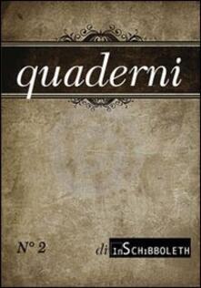 Quaderni di Inschibboleth (2013). Vol. 2 - copertina