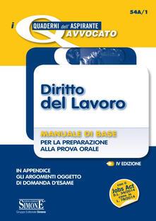 Milanospringparade.it Diritto del lavoro. Manuale di base per la preparazione alla prova orale Image