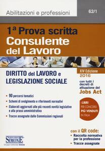 Consulente del lavoro. Prima prova scritta. Diritto del lavoro e legislazione sociale