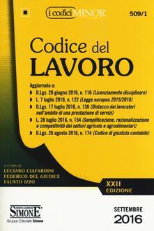 Promoartpalermo.it Codice del lavoro. Ediz. minore Image