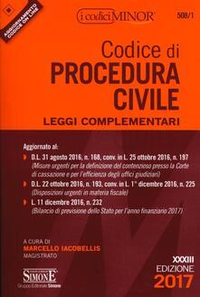 Equilibrifestival.it Codice di procedura civile. Leggi complementari. Ediz. minor Image