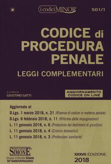 Promoartpalermo.it Codice di procedura penale. Leggi complementari. Ediz. minor Image