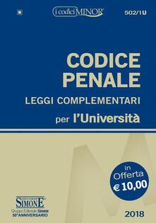 Winniearcher.com Codice penale e leggi complementari per l'Università. Ediz. minor Image