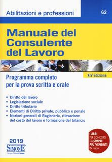 Mercatinidinataletorino.it Manuale del consulente del lavoro. Programma completo per la prova scritta e orale Image
