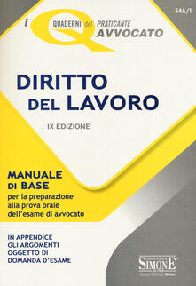 Daddyswing.es Diritto del lavoro. Manuale di base per la preparazione alla prova orale dell'esame di avvocato Image