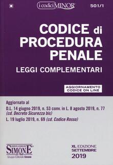 Ristorantezintonio.it Codice di procedura penale e leggi complementari. Ediz. minor. Con aggiornamento on line Image