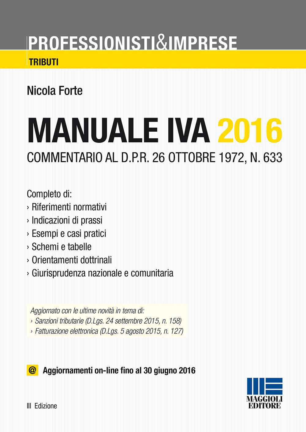 Manuale IVA 2016. Con aggio...
