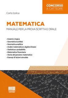 Daddyswing.es Matematica. Manuale per la prova scritta e orale Image