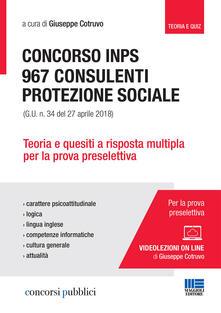 Lpgcsostenible.es Concorso INPS. 967 consulenti protezione sociale (G.U. n. 34 del 27 aprile 2018). Teoria e quesiti a risposta multipla per la prova preselettiva. Con videolezioni Image