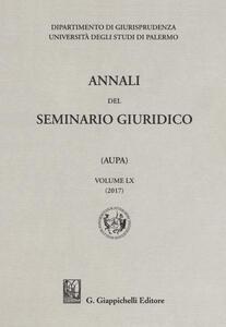 Annali del seminario giuridico dell'università di Palermo. Vol. 60