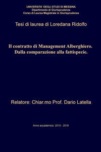 Il contratto di management alberghiero. Dalla comparazione alla fattispecie - Loredana Ridolfo - ebook