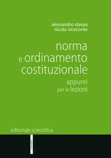 Norma e ordinamento costituzionale. Appunti per le lezioni - Alessandro Sterpa,Nicola Viceconte - copertina