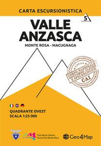 Carta escursionistica Valle Anzasca quadrante Ovest. Monte Rosa, Macugnaga. Ediz. italiana, inglese e tedesca