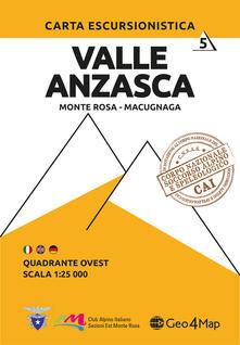 Warholgenova.it Carta escursionistica Valle Anzasca quadrante Ovest. Ediz. italiana, inglese e tedesca. Vol. 6: Monte Rosa, Macugnaga. Image