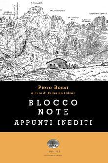 Blocco note. Appunti inediti - Piero Rossi - copertina