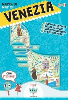 Mappa di Venezia illustrata. Con adesivi. Ediz. italiana e inglese - Dania Sara,Donata Piva - copertina