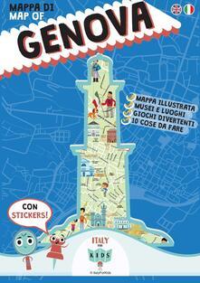Mappa di Genova illustrata. Con adesivi. Ediz. italiana e inglese - copertina