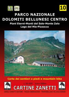 Lpgcsostenible.es Parco Nazionale Dolomiti Bellunesi centro. Piani Eterni, Monti del Sole, Monte Zelo, Lago del Mis, Pizzocco 1:30.000 Image