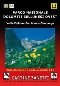 Parco Nazionale Dolomiti Bellunesi ovest. Vette Feltrine, San Mauro, Cimonega 1:30.000