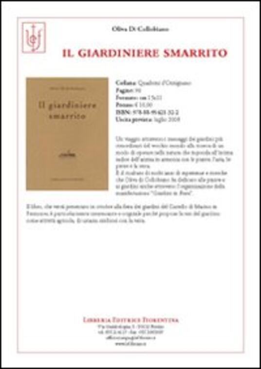 Il giardiniere smarrito - Oliva Di Collobiano - copertina