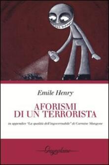 Aforismi di un terrorista - Emile Henry - copertina