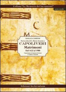 Parrocchia di S. Maria Assunta a Capoliveri. Matrimoni dal 1622 al 1900