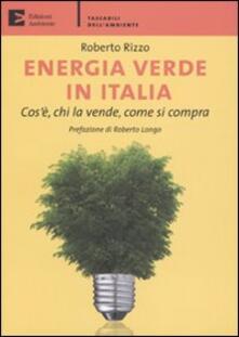 Energia verde in Italia. Cos'è, chi la vende, come si compra - Roberto Rizzo - copertina