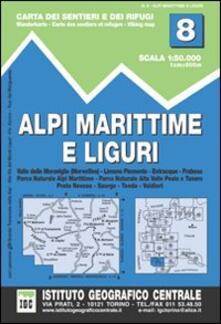 Mercatinidinataletorino.it Carta n. 8 Alpi Marittime e Liguri 1:50.000. Carta dei sentieri e dei rifugi Image