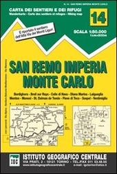 Carta n. 14. San Remo, Imperia, Monte Carlo 1:50.000. Carta dei sentieri e dei rifugi