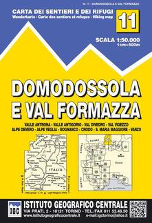 Letterarioprimopiano.it Carta n. 11 Domodossola e Val Formazza 1:50.000. Carta dei sentieri e dei rifugi Image