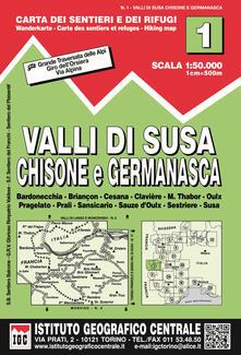 Daddyswing.es Carta n. 1 Val di Susa, Chisone e Germanasca 1:50.000. Carta dei sentieri e dei rifugi Image
