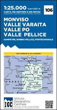 Carta n. 106 Monviso, Valle Po, Valle Varaita, Valle Pellice. Carta dei sentieri e dei rifugi - - wuz.it