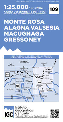 Winniearcher.com Carta n. 109 Monte Rosa, Alagna Valsesia, Macugnaga, Gressoney 1:25.000. Carta dei sentieri e dei rifugi Image