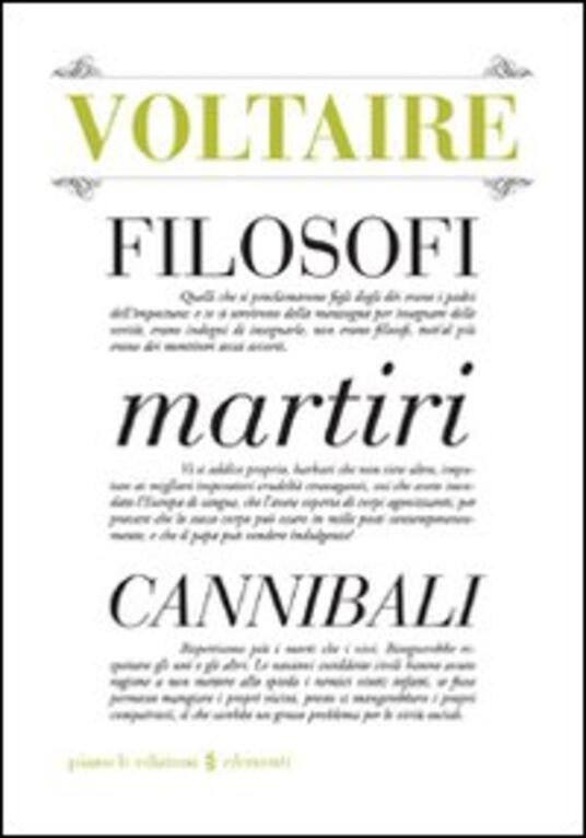 Filosofi martiri cannibali - Voltaire - copertina